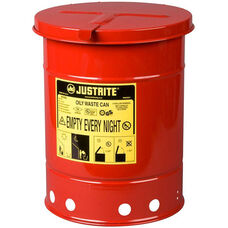 6 Gallon Steel Hand-Operated Oily Waste Can - Red