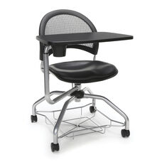 Foresee Series Tablet Moon Student Chair with Removable Vinyl Seat Cushion - Black