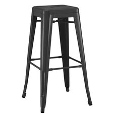 Dreux Matte Black Stackable Steel Barstool - Set of 4