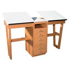 Two-Station Drawing Table with 6 Drawers