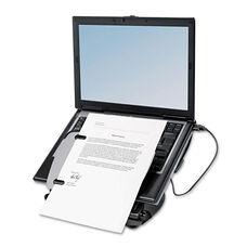 Fellowes® Adjustable Laptop Riser with Four-Port USB Hub - 12 1/8 x 13 3/8 x 3 - Black/Gray