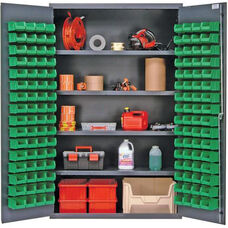 All-Welded Storage Cabinet with 128 Bins - Green