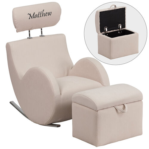 Our Personalized HERCULES Series Beige Fabric Rocking Chair with Storage Ottoman is on sale now.
