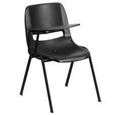 Black Ergonomic Shell Chair with Right Handed Flip-Up Tablet Arm