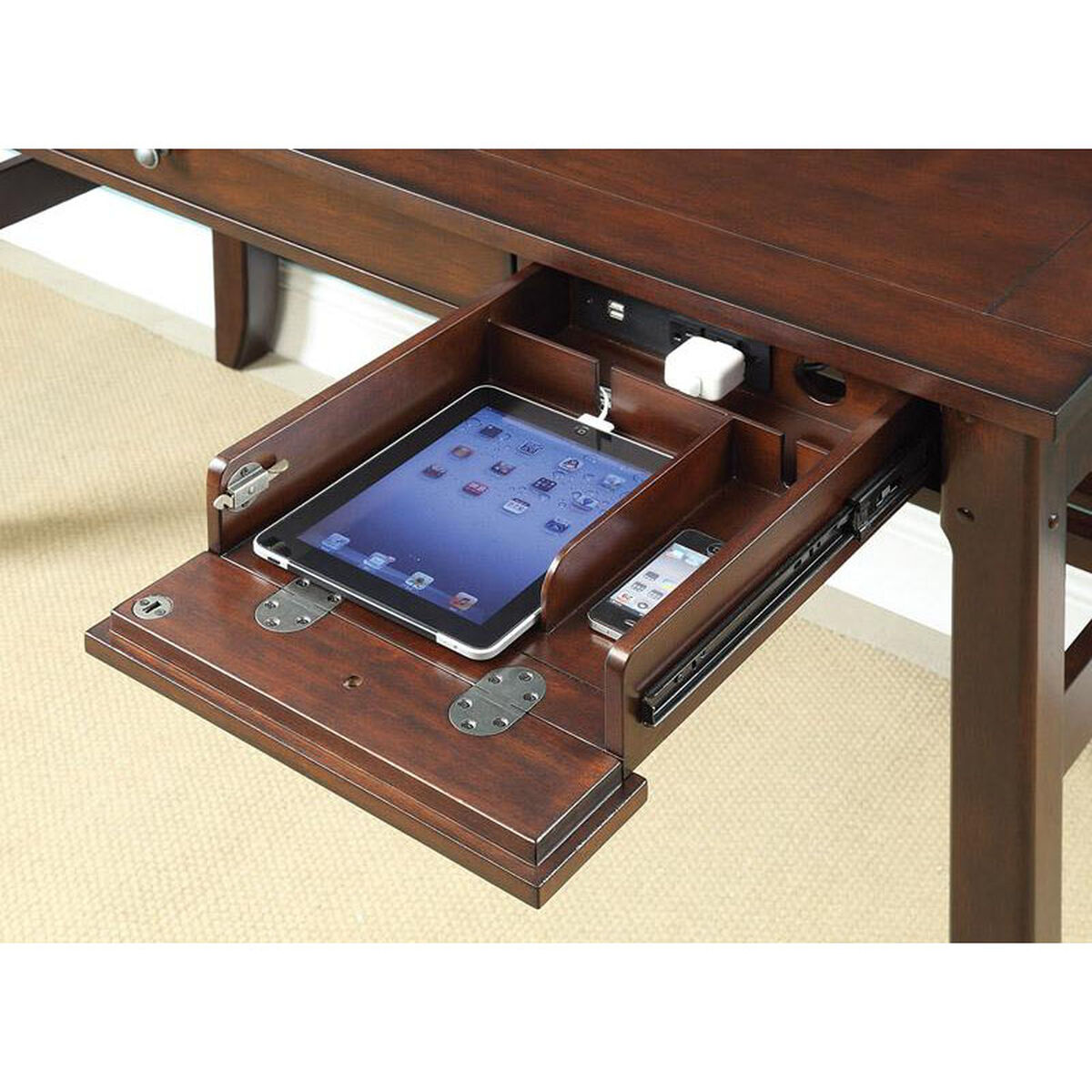 Our Inspired By Bassett Hainsworth Writing Desk Pullout Keyboard Shelf And Charging Drawer Java Is