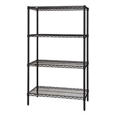 Black Wire Shelving 4-Shelf Starter Units 24