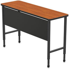 Apex Series Height Adjustable Stand Up Desk with PVC Edge - Wild Cherry Top with Black Edge and Legs - 60