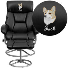 Embroidered Contemporary Black Leather Recliner and Ottoman with Metal Base