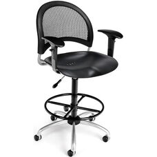 Moon Swivel Plastic Chair with Arms and Drafting Kit - Black