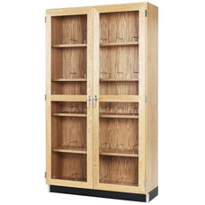 Science Lab 30 Microscope Wooden Storage Case with Locking Tempered Glass Doors - 36