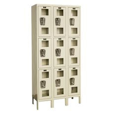 Safety Clear View Three Wide Triple-Tier Locker - Assembled - Tan - 36