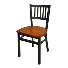 Troy Metal Slat Back Chair - Cherry Wood Seat