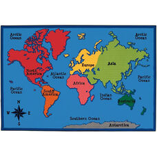 Kids Value World Map Rectangular Nylon Rug - 96