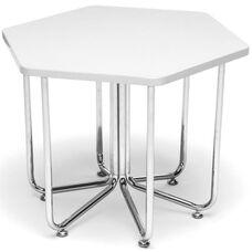 Hexagonal Chrome Frame Table with White Laminate Top - 22.75