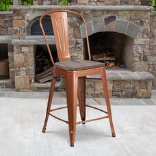 """24"""" High Copper Metal Counter Height Stool with Back and Wood Seat"""