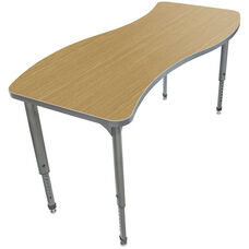 Apex Series Height Adjustable Wave Activity Table - Sand Shoal Top with Gray Edge and Legs - 60