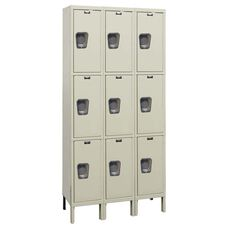 Quiet Stock Locker Three-Wide Triple-Tier Locker - Assembled - 36