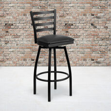 Black Metal Ladder Back Restaurant Barstool with Black Vinyl Swivel Seat