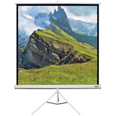 White Portable Height Adjustable Tripod Projection Screen with Matte White Fabric Screen and White Steel Casing - 60