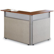 Steel Frame L-Shaped Reception Stand with Laminate Top - Beige Vinyl with Cherry Finish