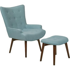 Ave Six Dalton Chair with Ottoman - Milford Capri and Medium Espresso