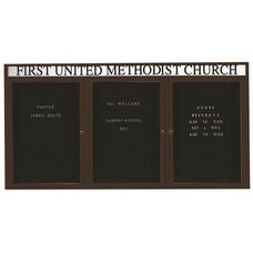 3 Door Outdoor Illuminated Enclosed Directory Board with Header and Bronze Anodized Aluminum Frame - 48