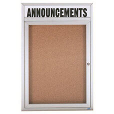 1 Door Indoor Illuminated Enclosed Bulletin Board with Header and Aluminum Frame - 24