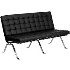 HERCULES Flash Series Black Leather Loveseat with Curved Legs