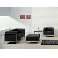 HERCULES Imagination Series Black LeatherSoft Loveseat, Chair & Ottoman Set