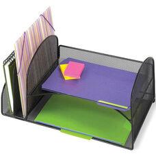 Onyx™ Two Upright and Two Horizontal Mesh Desktop Organizer - Black