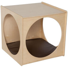 Contender Wooden Imagination Cube with Brown Cushion - Assembled - 29''W x 29''D x 29''H