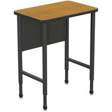 Apex Series Height Adjustable Stand Up Desk with PVC Edge - Solar Oak Top with Black Edge and Legs - 30