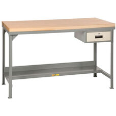 Steel Workbench with Butcher Block Top and Storage Drawer
