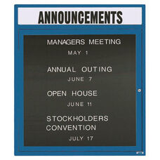1 Door Outdoor Enclosed Directory Board with Header and Blue Anodized Aluminum Frame - 36