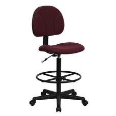 Burgundy Fabric Drafting Chair (Cylinders: 22.5