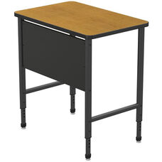 Apex Series Height Adjustable Stand Up Desk with PVC Edge - Solar Oak Top with Black Edge and Legs - 36