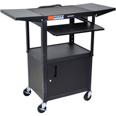 Adjustable Height 2 Shelf Steel A/V Cart with 2 Drop Leaf Shelves, Pullout Tray, and Locking Cabinet - Black - 24