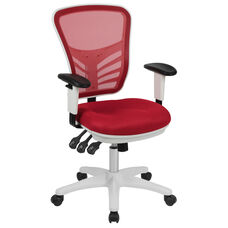 Mid-Back Red Mesh Multifunction Executive Swivel Ergonomic Office Chair with Adjustable Arms and White Frame