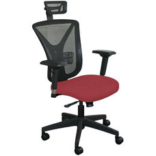 Fermata Executive Mesh Chair with Black Base and Headrest - Raspberry Fabric