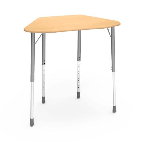 ZUMA Series Student Desk with Fusion Maple Hard Plastic Trapezoid Top and Silver Mist Legs For Hexagonal Groupings - 21.13