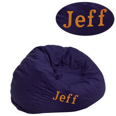 Personalized Small Solid Navy Blue Bean Bag Chair for Kids and Teens
