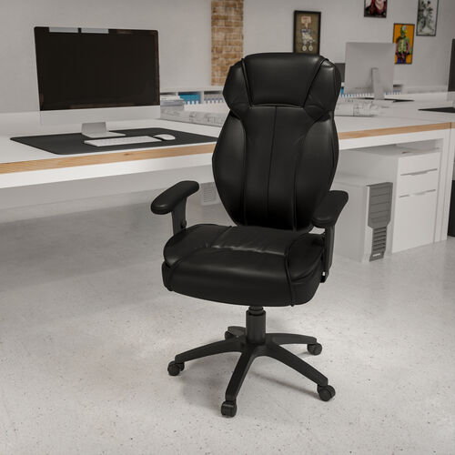 High Back Black LeatherSoft Multifunction Executive Swivel Ergonomic Office Chair with Lumbar Support Knob with Arms