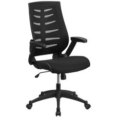 High Back Designer Black Mesh Executive Swivel Chair with Height Adjustable Flip-Up Arms