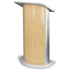 Curved Hard Rock Lectern with Satin Anodized Aluminum - Maple Finish - 26.75