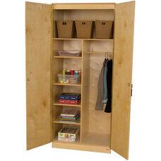 Wooden Three Adjustable Shelf Locking Wardrobe Unit with Garment Rod - 36