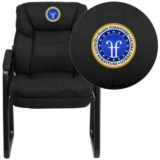 Embroidered Black Microfiber Executive Side Reception Chair with Lumbar Support and Sled Base