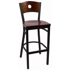 Circle Series Wood Back Armless Barstool with Steel Frame and Wood Seat - Walnut