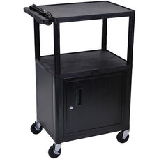 Endura 2 Shelf Mobile A/V Cart with Locking Cabinet - Black - 24