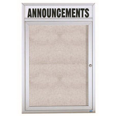 1 Door Outdoor Enclosed Bulletin Board with Header and Aluminum Frame - 36