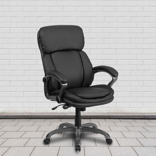 High Back Black LeatherSoft Executive Swivel Ergonomic Office Chair with Lumbar Support Knob with Arms